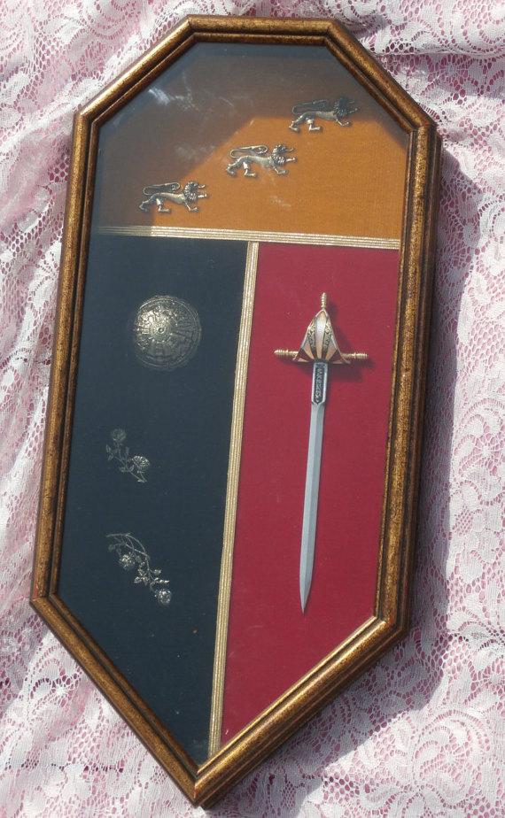 Framed Damascene Sword Ornate Made in Spain Shadowbox, 1970s Era by MendozamVintage