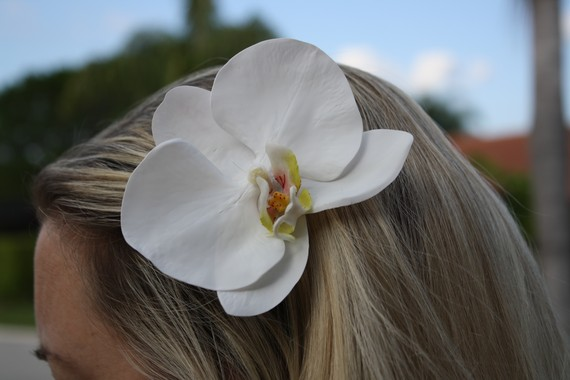Large White Phalaenopsis Orchid Hair Clip Barrette, Bridal Hair Flower, Wedding Hair Accessory,, Bridesmaids, Bachelorette Party by SkyDesignsUSA