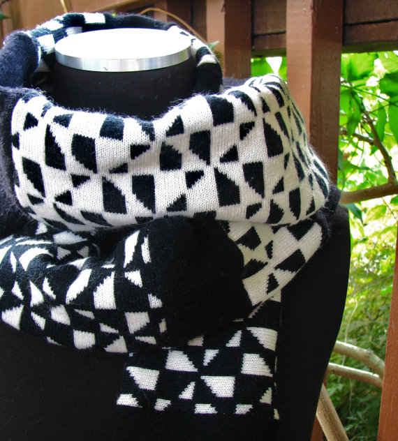 SALE Upcycled Eco Friendly Sweater Scarf in Black and White by WarmerStyle