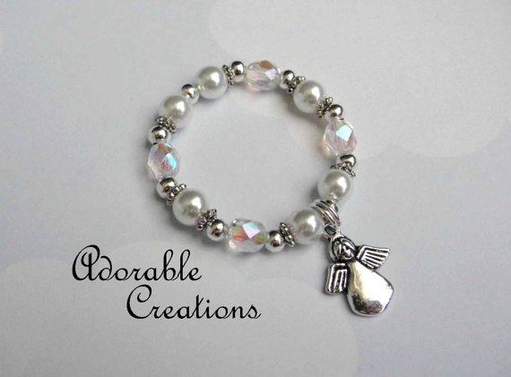 White Pearl & Crystal Angel Bracelet by AdorableCreations08