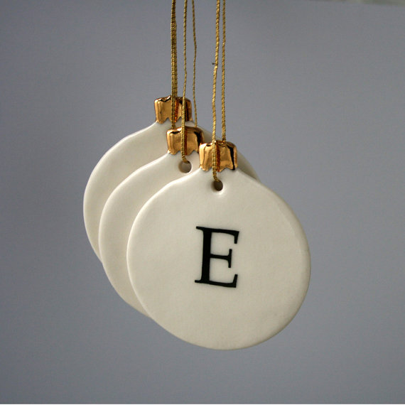 Personalized Letter Christmas Bauble Ornament by joheckett