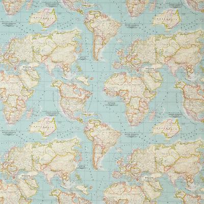 world map fabric – map fabric – world fabric – blue fabric – half yard – yardage – ice blue fabric – mint fabric – craft supply by chezlele