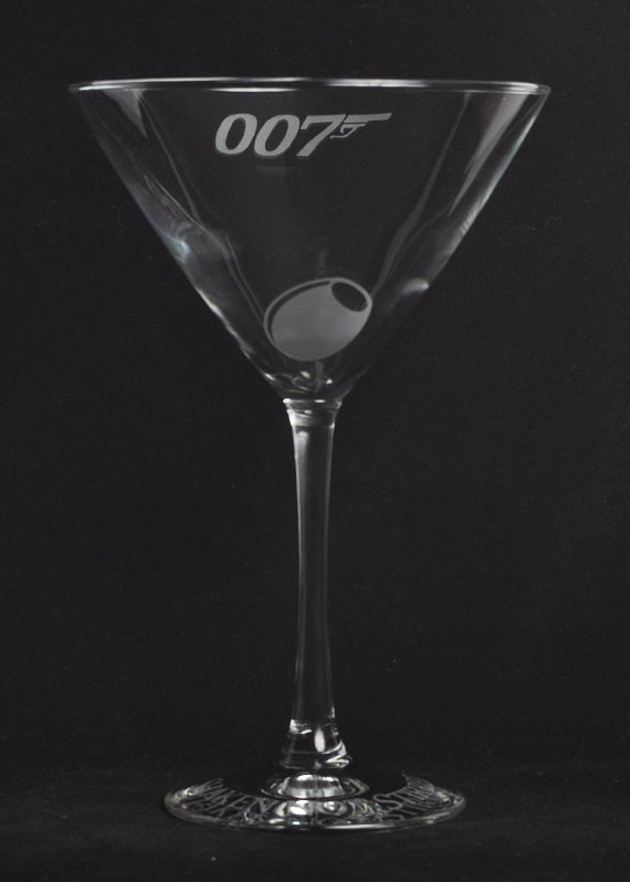Etched 007 James bond martini glass by Jackglass on Etsy by Jackglass