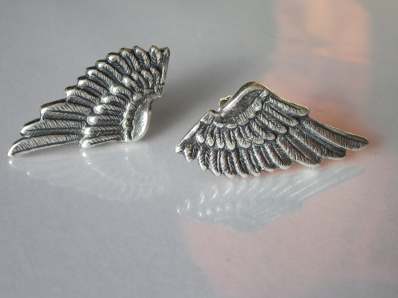Small Wing Stud Earrings Antiqued Silver Post Feathered Angel Wing Earrings Free Domestic Shipping by DanglingDesigns