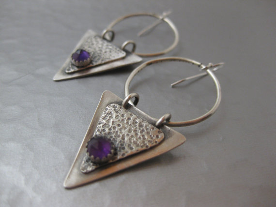 Triangle sterling silver and Amethyst cabochon hoop earrings by StrawberryFrog