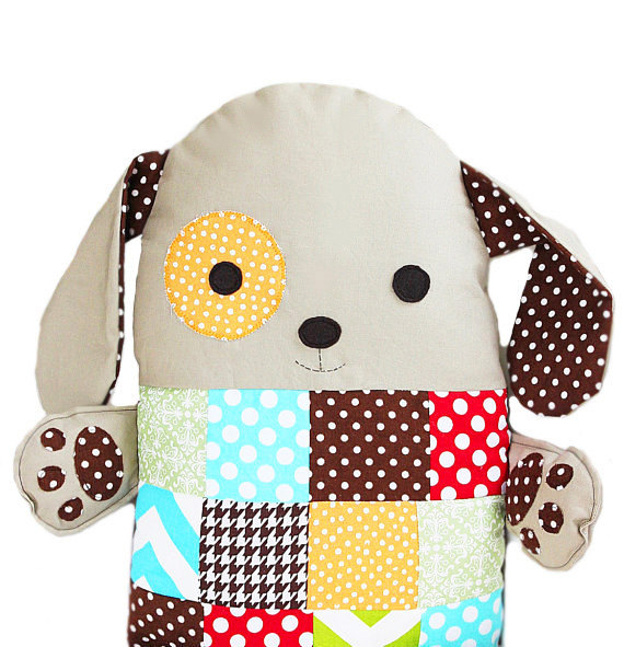 Patchwork Sewing Pattern Stuffed Toy Dog Pillow PDF Sewing Pattern by GandGPatterns