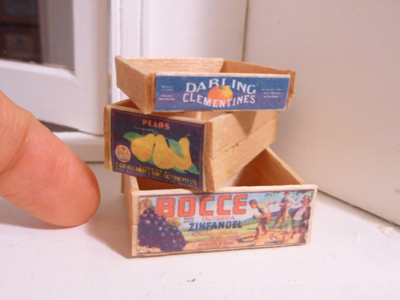 Miniature Dollhouse Wooden Fruit Crates by MinnieKitchen