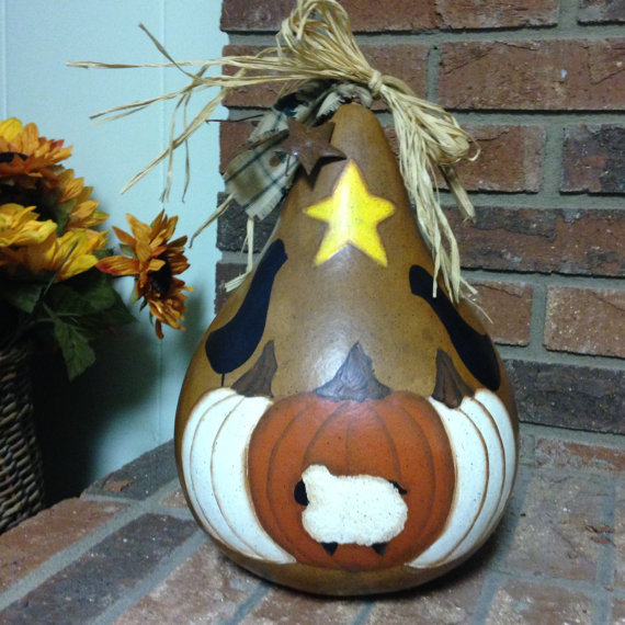 Primitive Painted Gourd Pumpkin Crow Fall Autumn Centerpiece by NatsKreations