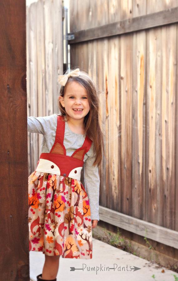 LAST TWO Fall Fox Suspender Skirt by PumpkinPantsShop