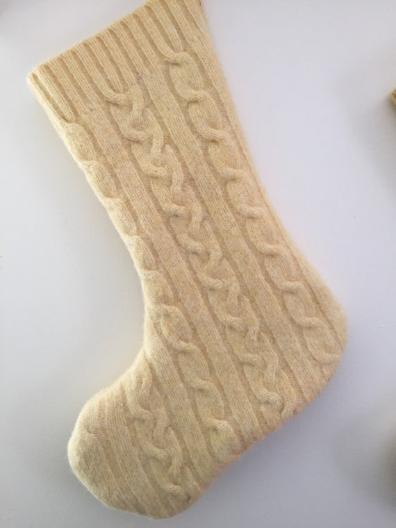 Cable Knit Wool Stocking by PrairiePathWool