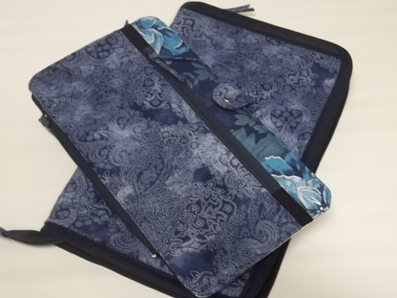 Double Tips Deluxe Spill Proof Needlecase in Denim Paisley for tips and circs by GracesCases