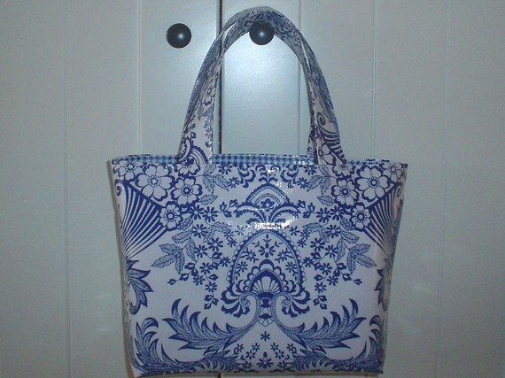 Beth's Blue Paradise Small Oilcloth Market Tote Bag by marketbags