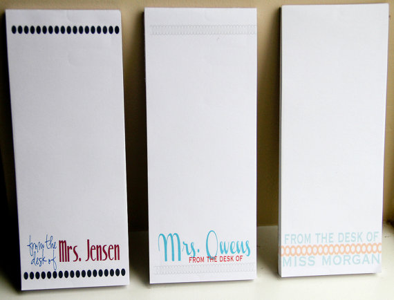 Set of 3 Personalized Teacher Notepads – From the Desk of – Personalized – Teacher Gifts by Lexiphilia