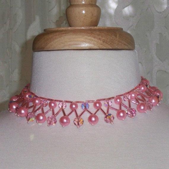 Vintage Bib Necklace Pink Beads Crystals Mad Men Collar by 4dollsintime