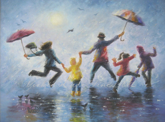 Singing in the Rain Art Print, happy family playing in rain paintings umbrellas mom dad three children three kids wall decor blue by VickieWadeFineArt