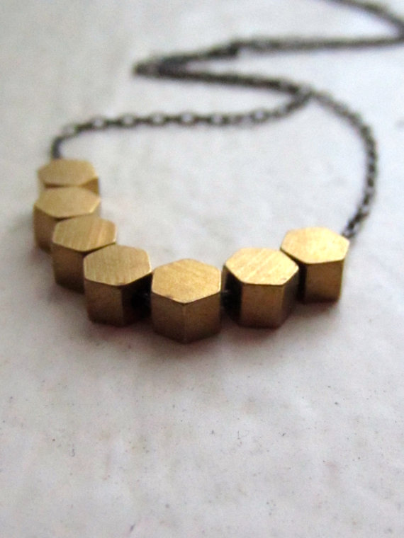 modern brass beaded necklace. holmes by whoop