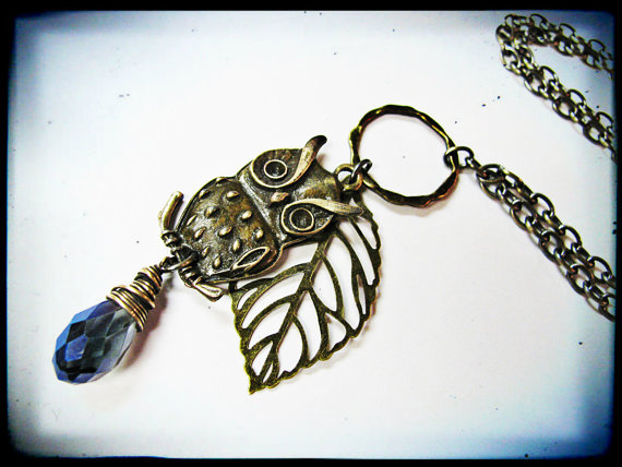 Antique Brass Owl, Elm Leaf and BlueCrystal Long Necklace by GeishaCreations