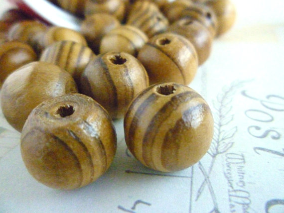 CLEARANCE Round Wood Beads – Coffee Stripe – 16mm – Pack of 10 by heartsupplies
