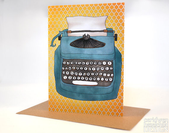 Typewriter Greeting Card,, Blank Card, Birthday Card, Thank You Card, Easter Card, Mothers Day Card, Fathers Day Card, Good Luck Card by ceridwenDESIGN