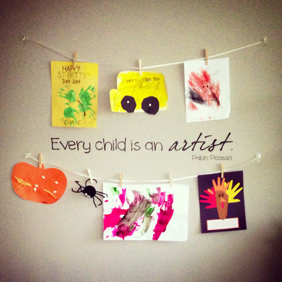 Every child is an artist Pablo Picasso Wall Decal, Play room wall Decal, Art room wall decal by luxeloft