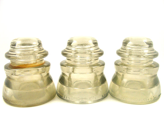 Clear Glass Insulators Armstrong's DP1 Double Petticoat Smoky Lot of 3 by TidBitz