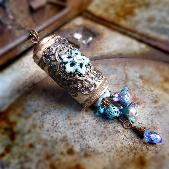 Torch Fired glass enamel wine cork necklace – assemblage necklace up-cycled jewerly by freerangeart