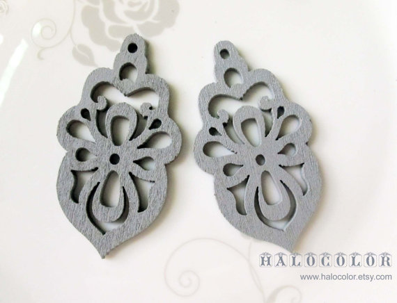 6 PCS – 32x58mm Pretty Sliver Grey Oriental style Flower Cutting Wooden Charm / pendant MH314 13 by halocolor
