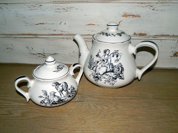 Tabletops Unlimited New England Toile – Black and White Teapot Or Sugar Bowl by MemeresAttic