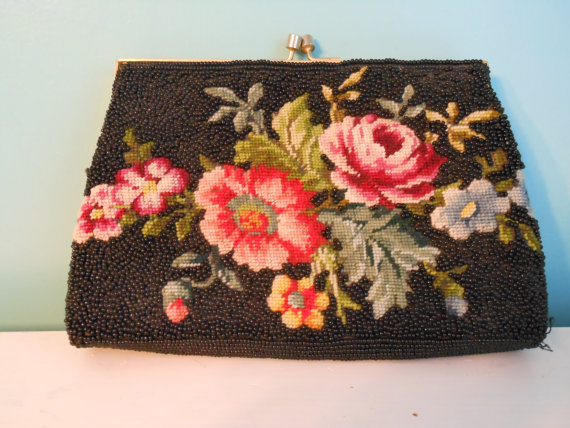 Beautiful Petit Point Vintage Seed Beaded Black Purse Hong Kong Clutch Style Mother of Bride GORGEOUS evening bag by mysparrowsnest