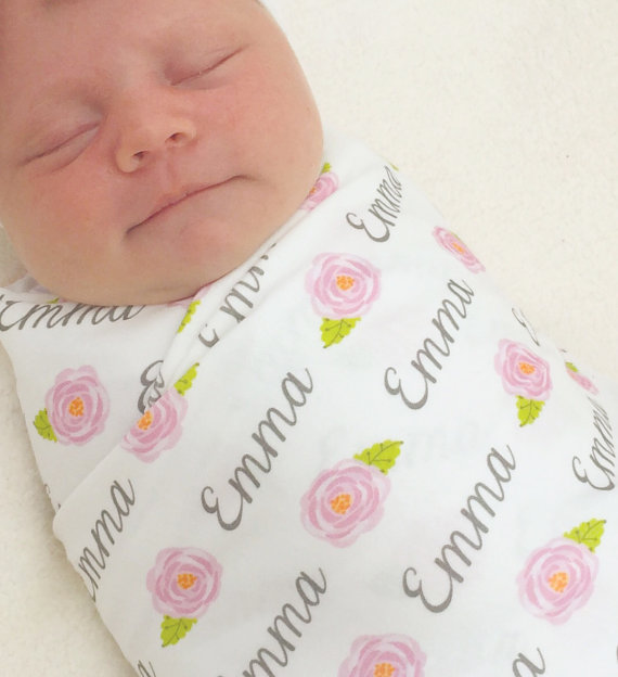 Personalized Name Swaddle – Roses by BocoBaby