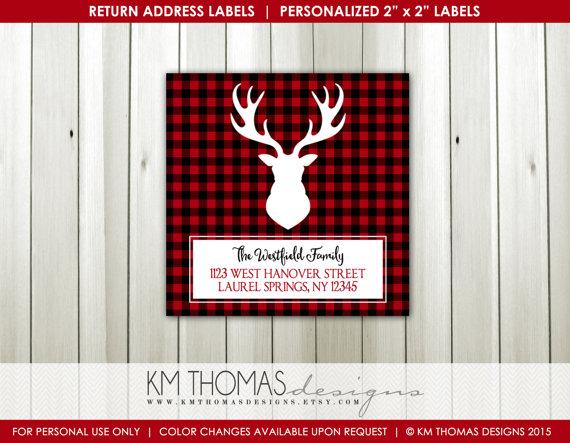 Plaid Antlers Return Address Label: Square Label – Christmas Return Address Label – Reindeer Antlers Label – Printable – # WH104 by KMThomasDesigns