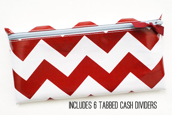Crimson and gray sports fan   school spirit envelope system cash budgeting wallet with 6 tabbed dividers by ATime4Everything