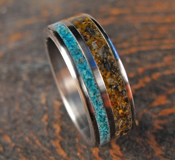 Titanium and Double Stone Inlay Ring (tigerseye and turquoise) by RobandLean