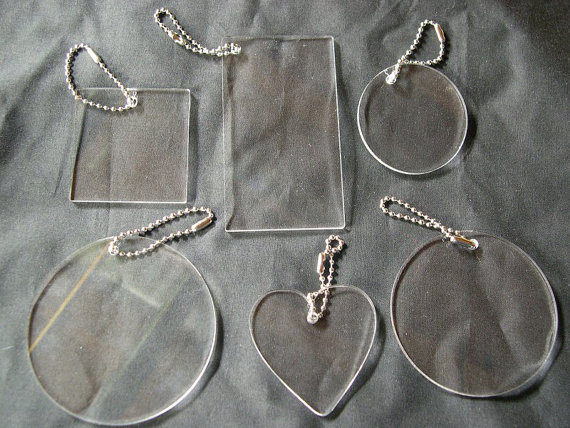 Sampler Set Of Acrylic Blanks Key Chains, Circles, Square, Rectangle, and Heart, Great for vinyl applications by lasercut