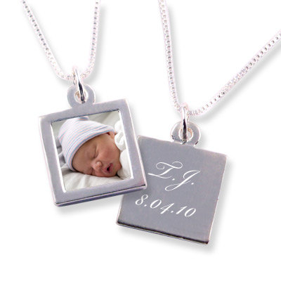 Custom Photo Necklace with Engraved Message on Reverse – Sterling Silver – Small Size (1/2 & quot;) – Waterproof by kathylorockskeepsake
