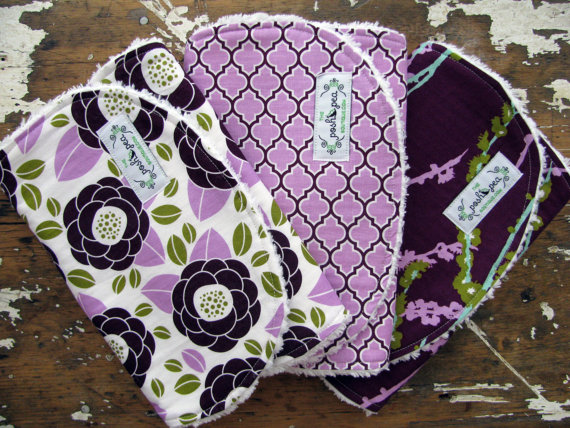 Baby Girl Burp Cloths – Aviary 2 Collection in Plum & Lilac – Set of 3 – Lilac Bloom, Lattice, and Sparrows by theposhpeaboutique