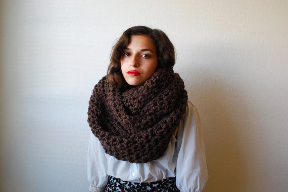 The Oversized Cowl or Hood Hand Knit in Chocolate Brown Wool Blend by RememberADay
