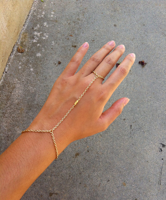 3 22K Shiny Gold Nugget Bead Hand Chain Bracelet Ring by hungryeyes