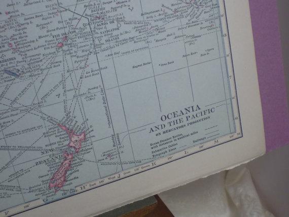Oceania, Australia, Borneo, Philippines, Hawaii, Fiji, Siam – 1915 Map – lovely pastel colors – Hammond by WoodlandAntiques