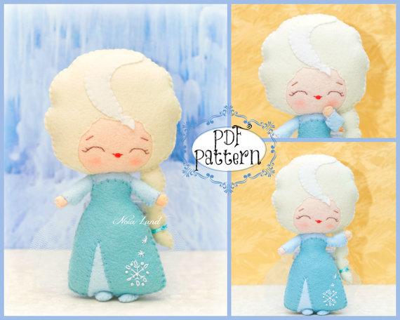PDF. Elsa. Fairy tale pattern. Plush Doll Pattern, Softie Pattern, Soft felt Toy Pattern. by Noialand