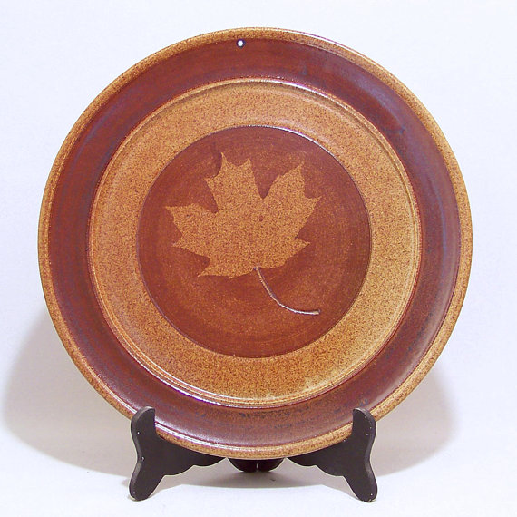 Maple Leaf design Pottery 11 inch Serving Plate and Wall Decor VINTAGE by JimAndGina