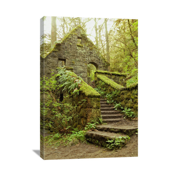 Mossy House Nature Photography & quot; The Stone House & quot; Forest Home, Moss Green Art, Forest Art, Hiking Photo, Portland Oregon, Canvas Gallery Wrap by ndtphoto