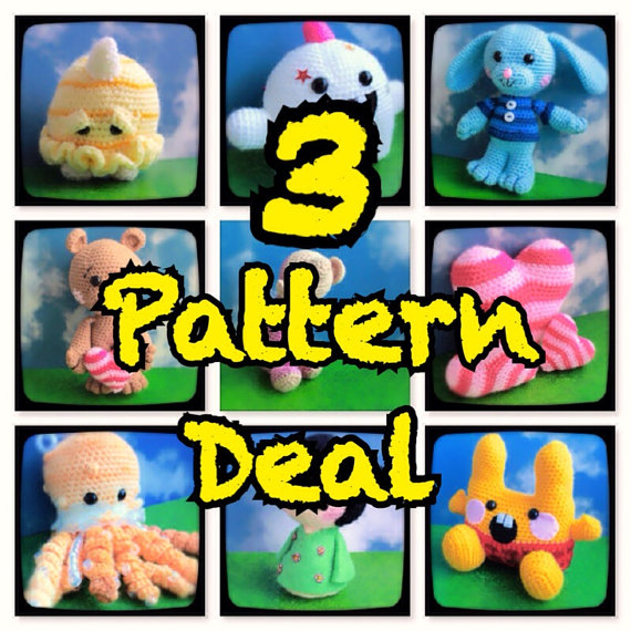 SALE! 3 Amigurumi Pattern Deal – Pick Any 3 – You Choose – Amigurumi Pattern – Crochet Pattern – Toys – Monster – Animal – Hearts by EssHaych