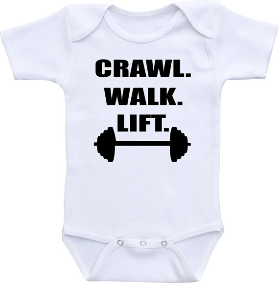 Crawl Walk Lift work out onesie ® brand Gerber Onesie Bodysuit Cute baby shower gift, work out baby bodysuit. Funny baby shirt by clippycabin