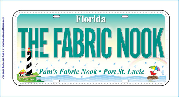 Row by Row H2O 2015 Pam's Fabric Nook Fabric License Plate and Rectangle Lapel Pin by PamsFabricNook