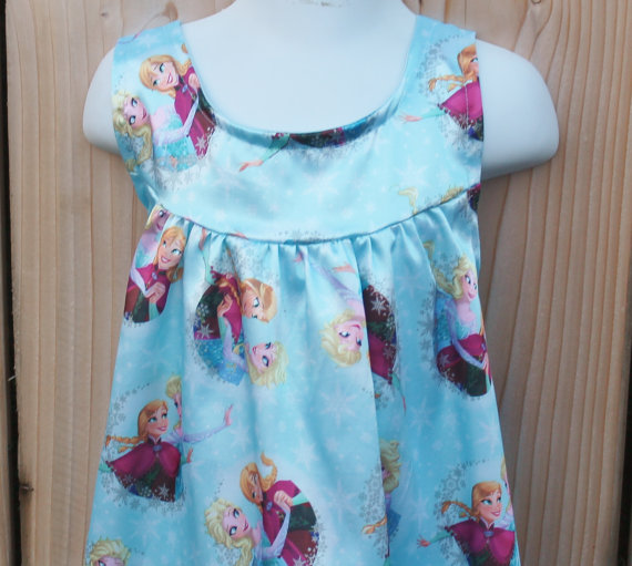 NEW Frozen Sisters Satin Nightgown, Pastel Blue Satin Nightie, Girls Pajamas, Gift For Her, Disney Princess, Toddler to Teen, Long Nightgown by HangingByAThreadKids