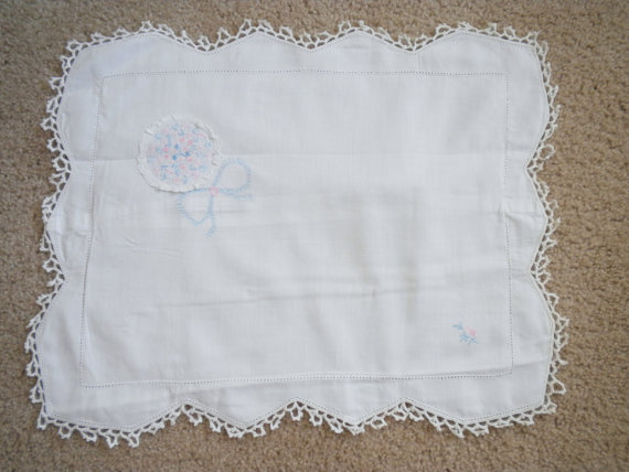 Vintage Infant Pillow Cover Baby & Nursery Pillow Sham Pillowcase by heresthething