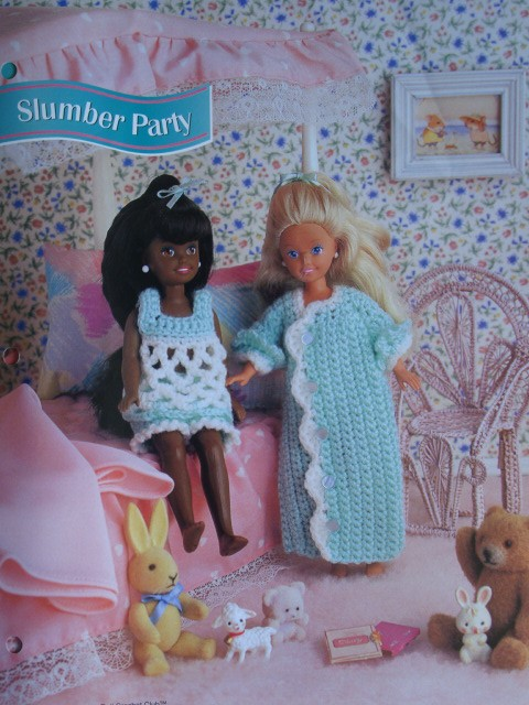 Slumber Party Baby Doll Nightie and Grannie Gown Crochet Pattern for 7 1/2 inch Fashion Dolls like Kelly, Kish Riley, Ginny and others by PatternsAndSuch