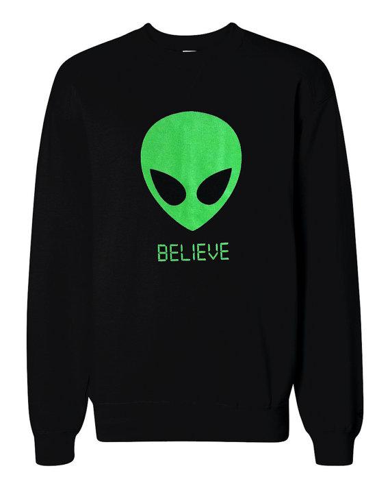Alien BELIEVE 90's Sweater – UFO Martian Crewneck Sweatshirt – Unisex Sizes S, M, L, XL by theboldbanana