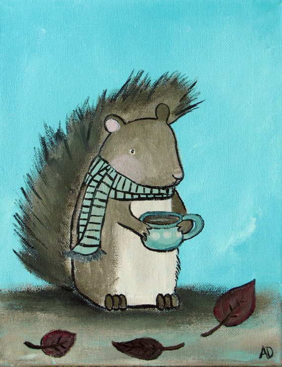 Woodland Squirrel, Kids Wall Art Print, Morning Coffee Woodland Animal Nursery Decor, Children's Art by andralynn